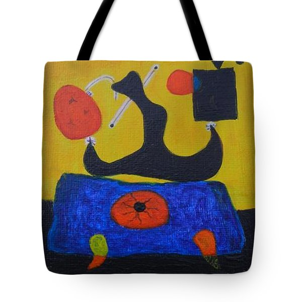 Tote Bag featuring the painting Mini Miro by Diana Bursztein