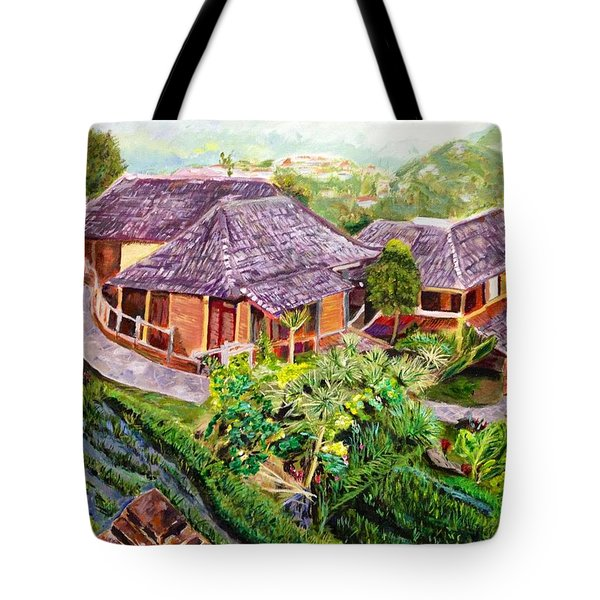 Tote Bag featuring the painting Mini Paradise by Belinda Low