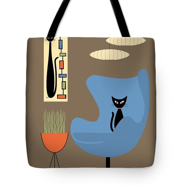 Tote Bag featuring the digital art Mini Rectangle Cat by Donna Mibus