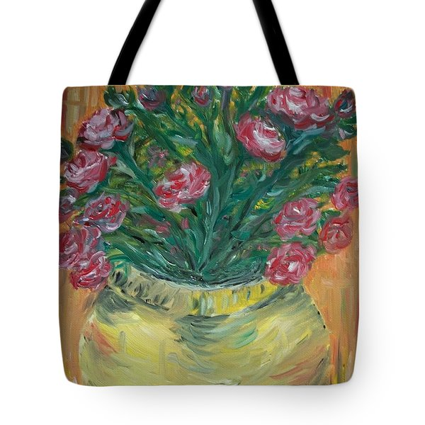 Tote Bag featuring the painting Mini Roses by Teresa White