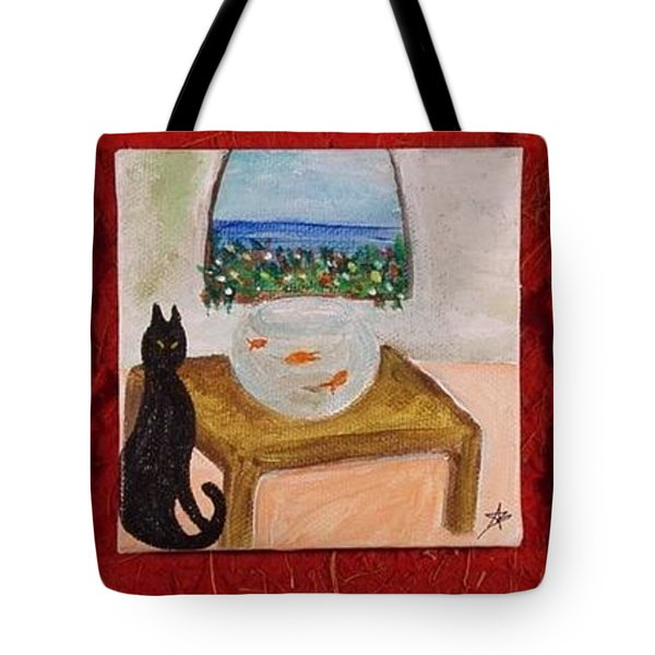 Miniature. Black Cat With Red Fishes Tote Bag