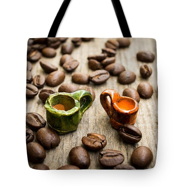 Miniature Coffee Cups Tote Bag by Aged Pixel