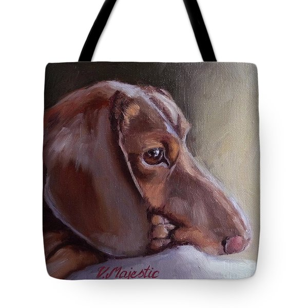 Miniature Doxin Daydreaming- Dachshund Pet Portrait Tote Bag
