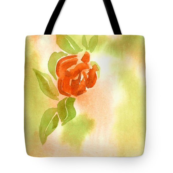 Tote Bag featuring the painting Miniature Red Rose II by Kip DeVore