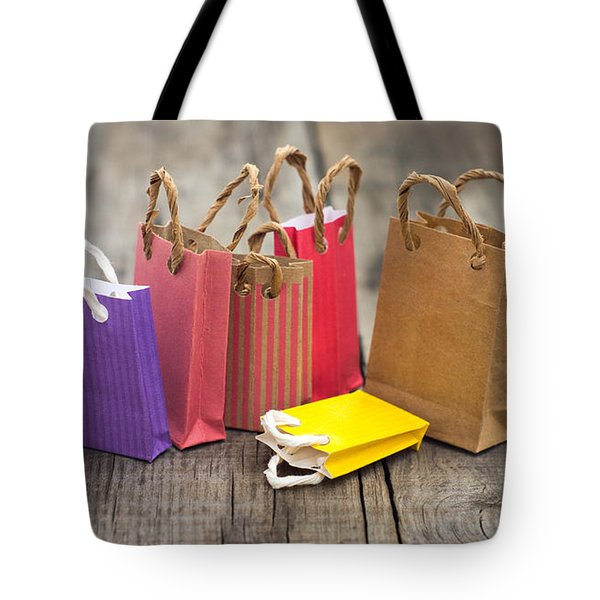 Miniature Shopping Bags Tote Bag by Aged Pixel