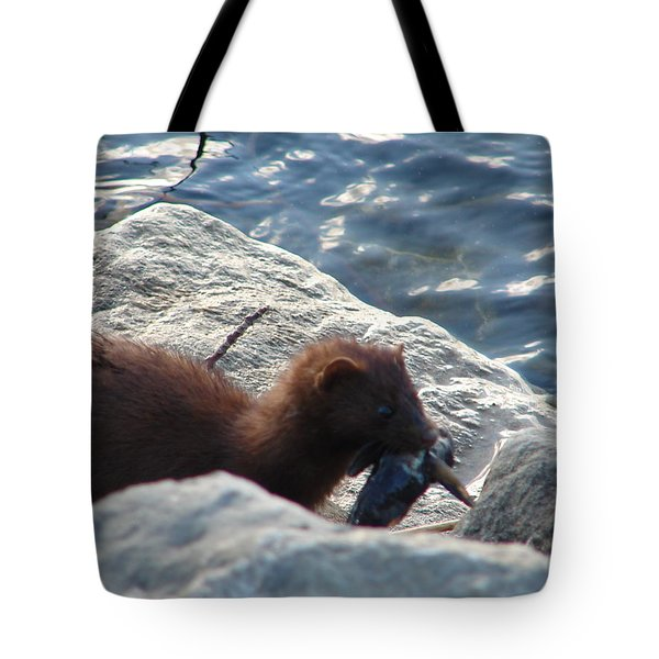 Mink With A Round Goby Tote Bag by Randy J Heath