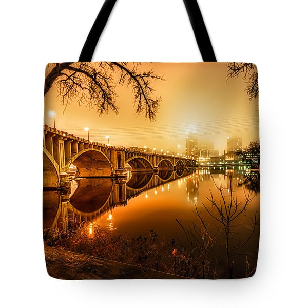 Minneapolis In The Fog Tote Bag by Mark Goodman