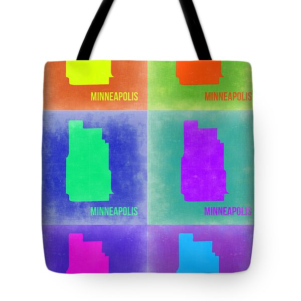 Minneapolis Pop Art Map 3 Tote Bag by Naxart Studio