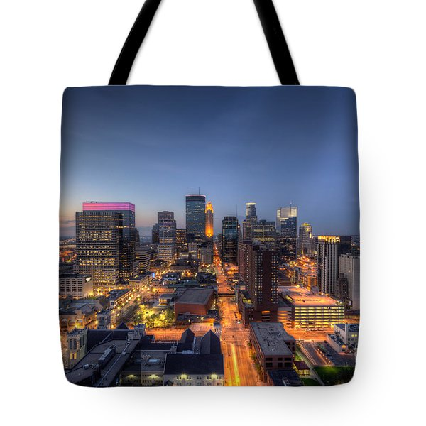 Minneapolis Skyline At Night Tote Bag