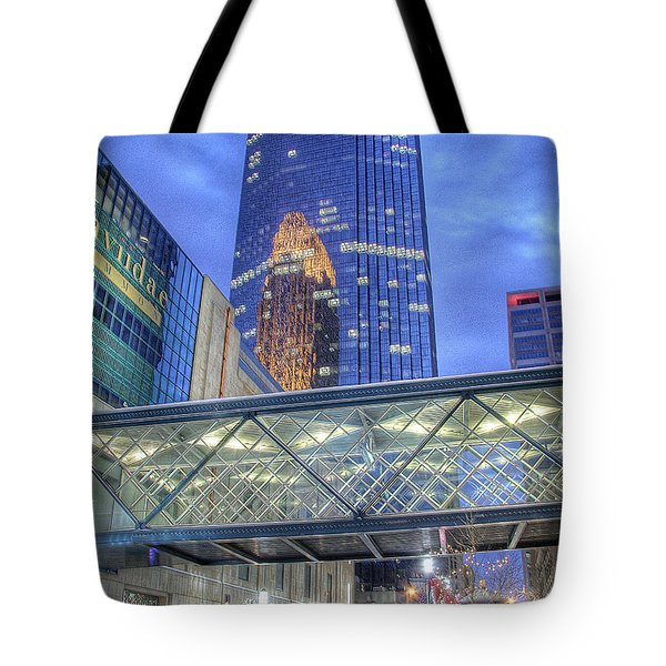 Minneapolis Skyline Photography Nicollet Mall Winter Evening Tote Bag
