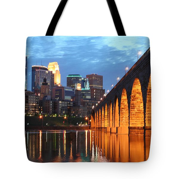 Minneapolis Skyline Photography Stone Arch Bridge Tote Bag