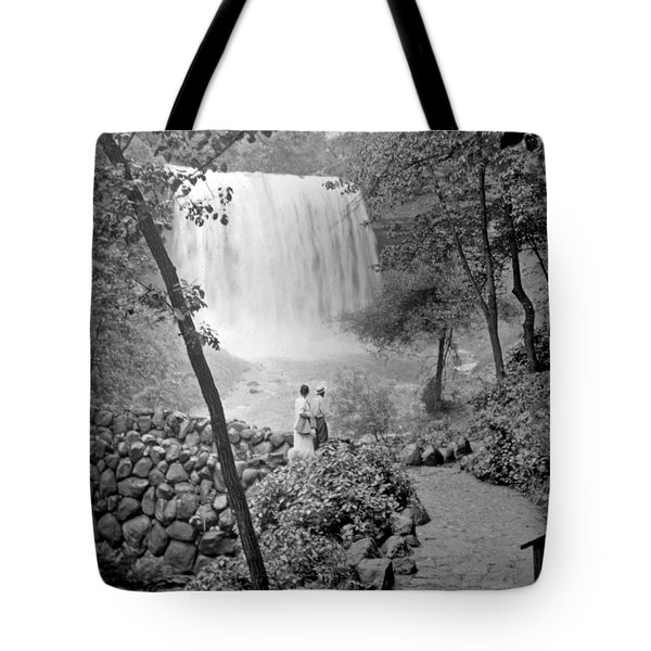 Tote Bag featuring the photograph Minnehaha Falls Minneapolis Minnesota 1915 Vintage Photograph by A Gurmankin