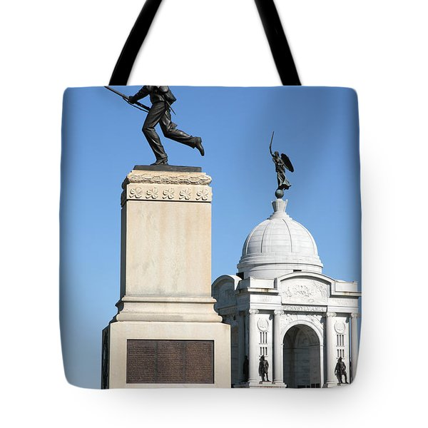 Minnesota And Pennsylvania Monuments At Gettysburg Tote Bag