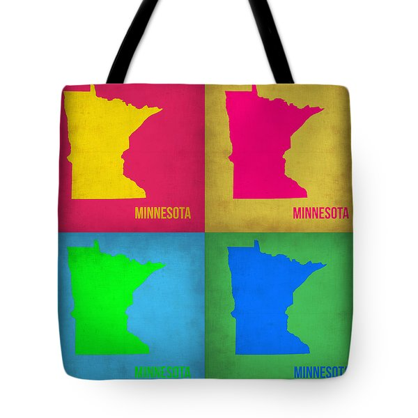 Minnesota Pop Art Map 1  Tote Bag by Naxart Studio