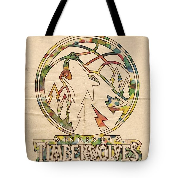 Minnesota Timberwolves Retro Poster Tote Bag by Florian Rodarte