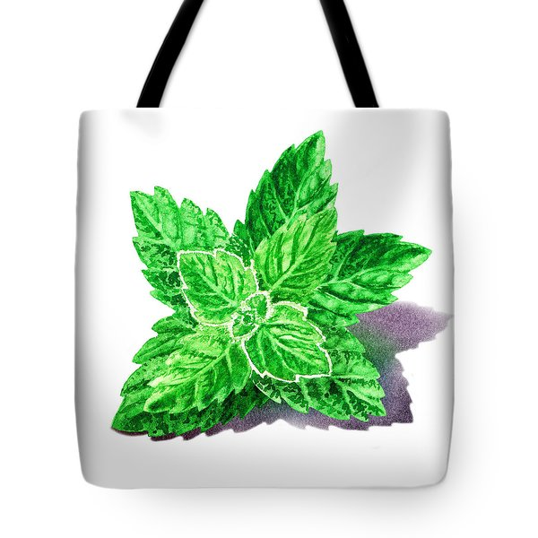 Tote Bag featuring the painting Mint Leaves by Irina Sztukowski