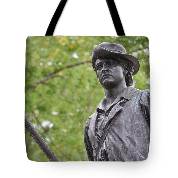 Minute Man Statue In Spring Tote Bag