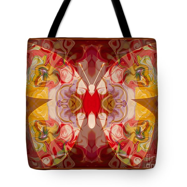 Miracles Can Happen Abstract Butterfly Artwork Tote Bag by Omaste Witkowski