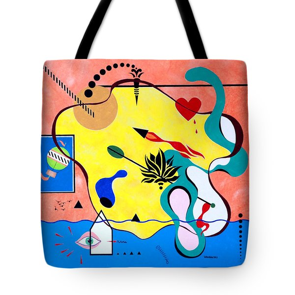 Tote Bag featuring the painting Miro Miro On The Wall by Thomas Gronowski