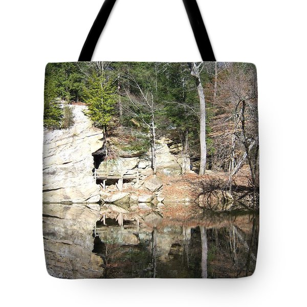 Tote Bag featuring the photograph Sugar Creek Mirror by Pamela Clements