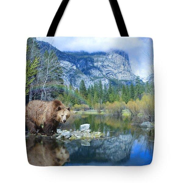Mirror Lake Bear Tote Bag by Alixandra Mullins
