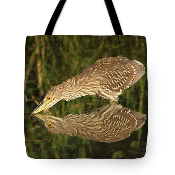 Mirror Mirror On The Wall Who Is The Fairest Heron Of All Tote Bag by Heather King