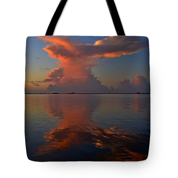 Mirrored Thunderstorm Over Navarre Beach At Sunrise On Sound Tote Bag by Jeff at JSJ Photography