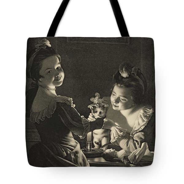 Miss Kitty Dressing, 1781 Mezzotint Tote Bag