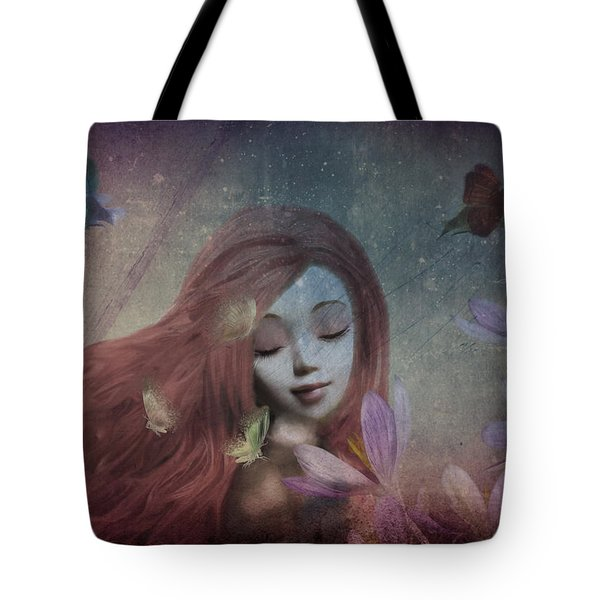 Tote Bag featuring the digital art Miss Little Crocus by Barbara Orenya