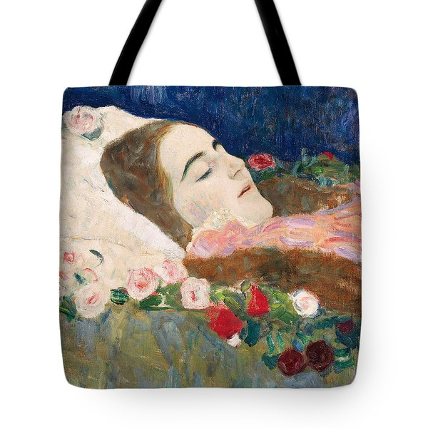 Miss Ria Munk On Her Deathbed Tote Bag by Gustav Klimt