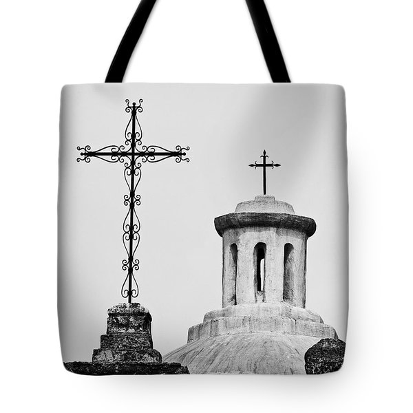 Tote Bag featuring the photograph Mission Concepcion Crosses by Andy Crawford