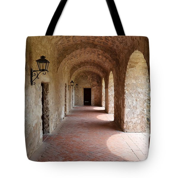 Mission Concepcion Promenade Walkway In San Antonio Missions National Historical Park Texas Tote Bag
