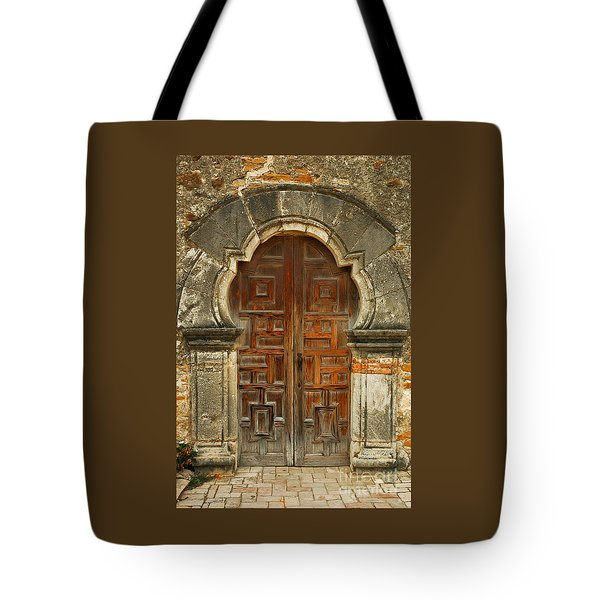 Tote Bag featuring the photograph Mission Espada Door  by Olivia Hardwicke
