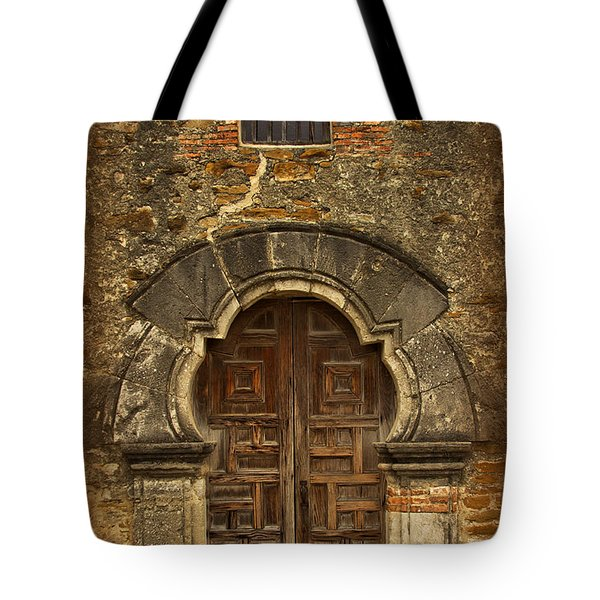 Tote Bag featuring the photograph Mission Espada Doorway by Jemmy Archer