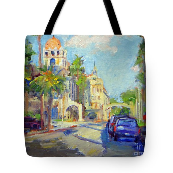 Mission Inn View On Sixth Street Tote Bag