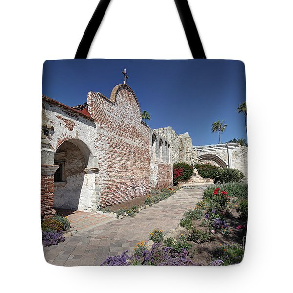 Tote Bag featuring the photograph Mission Plaza Capistrano by Martin Konopacki