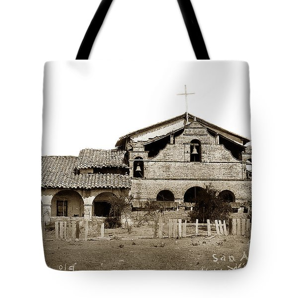 Mission San Antonio De Padua California Circa 1885 Tote Bag by California Views Mr Pat Hathaway Archives