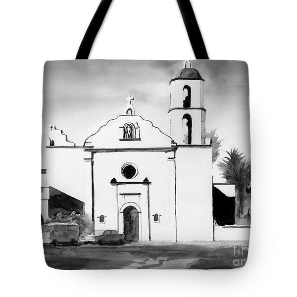 Mission San Luis Rey Bw Blue Tote Bag by Kip DeVore