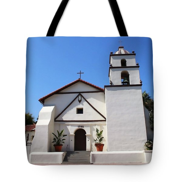 Tote Bag featuring the photograph Mission Ventura by Art Block Collections