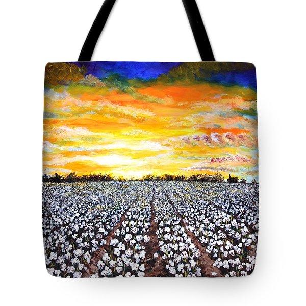 Mississippi Delta Cotton Field Sunset Tote Bag