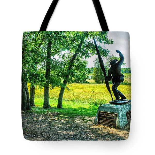 Mississippi Memorial Gettysburg Battleground Tote Bag by Bob and Nadine Johnston