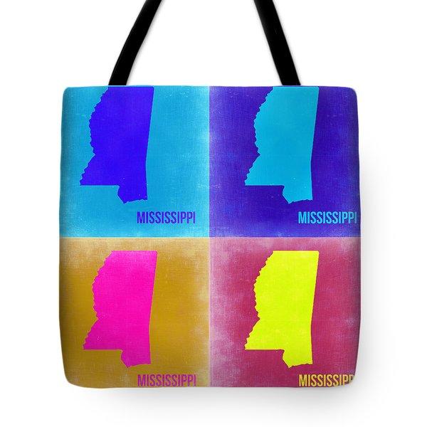 Mississippi Pop Art Map 2 Tote Bag by Naxart Studio