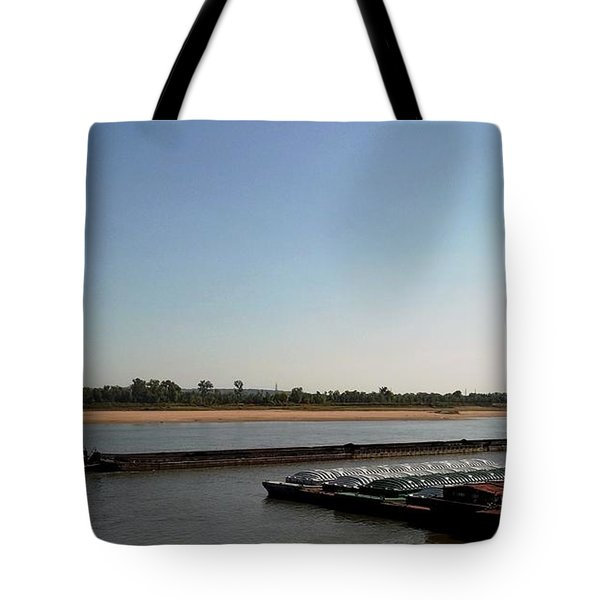 Tote Bag featuring the photograph Mississippi River Barge by Kelly Awad