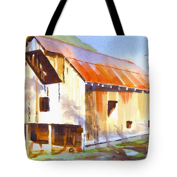 Missouri Barn In Watercolor Tote Bag