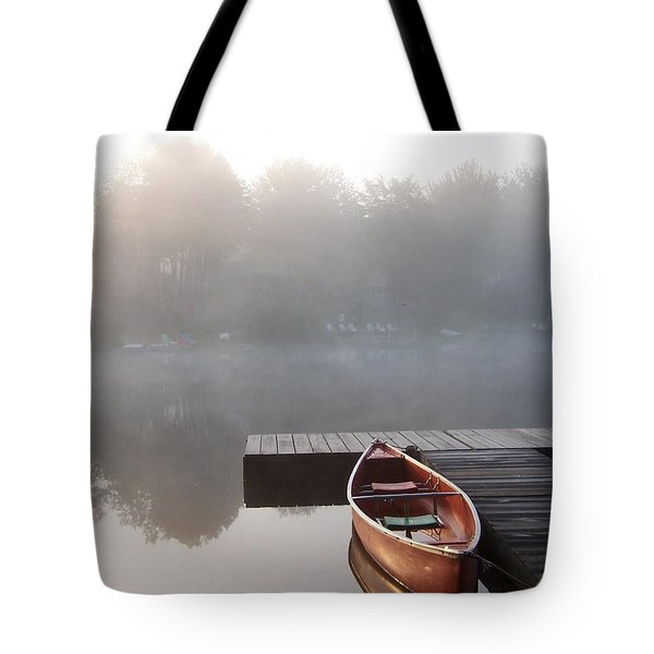 Mist Floating Over The Lake Tote Bag
