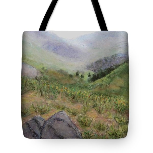 Mist In The Glen Tote Bag by Laurie Morgan