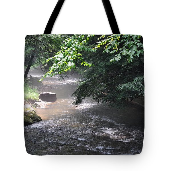 Mist Over The Water Tote Bag