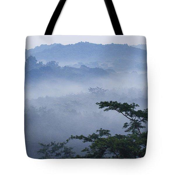 Mist Over Tropical Rainforest Kibale Np Tote Bag