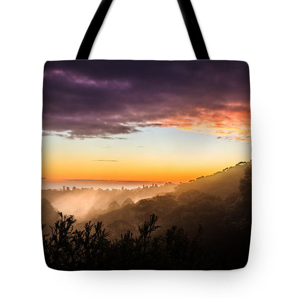 Mist Rising At Dusk Tote Bag by Peta Thames