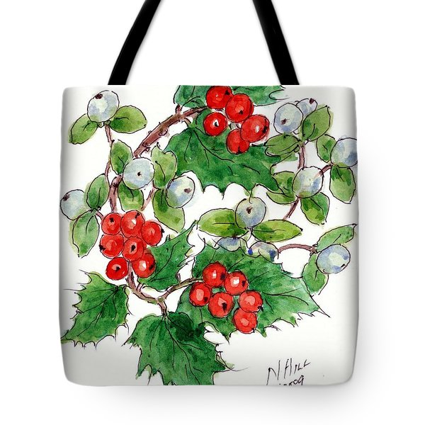 Mistletoe And Holly Wreath Tote Bag by Nell Hill